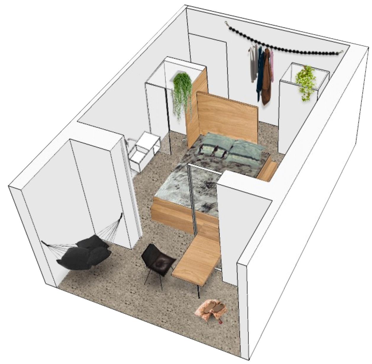 plan 3D chambre bless